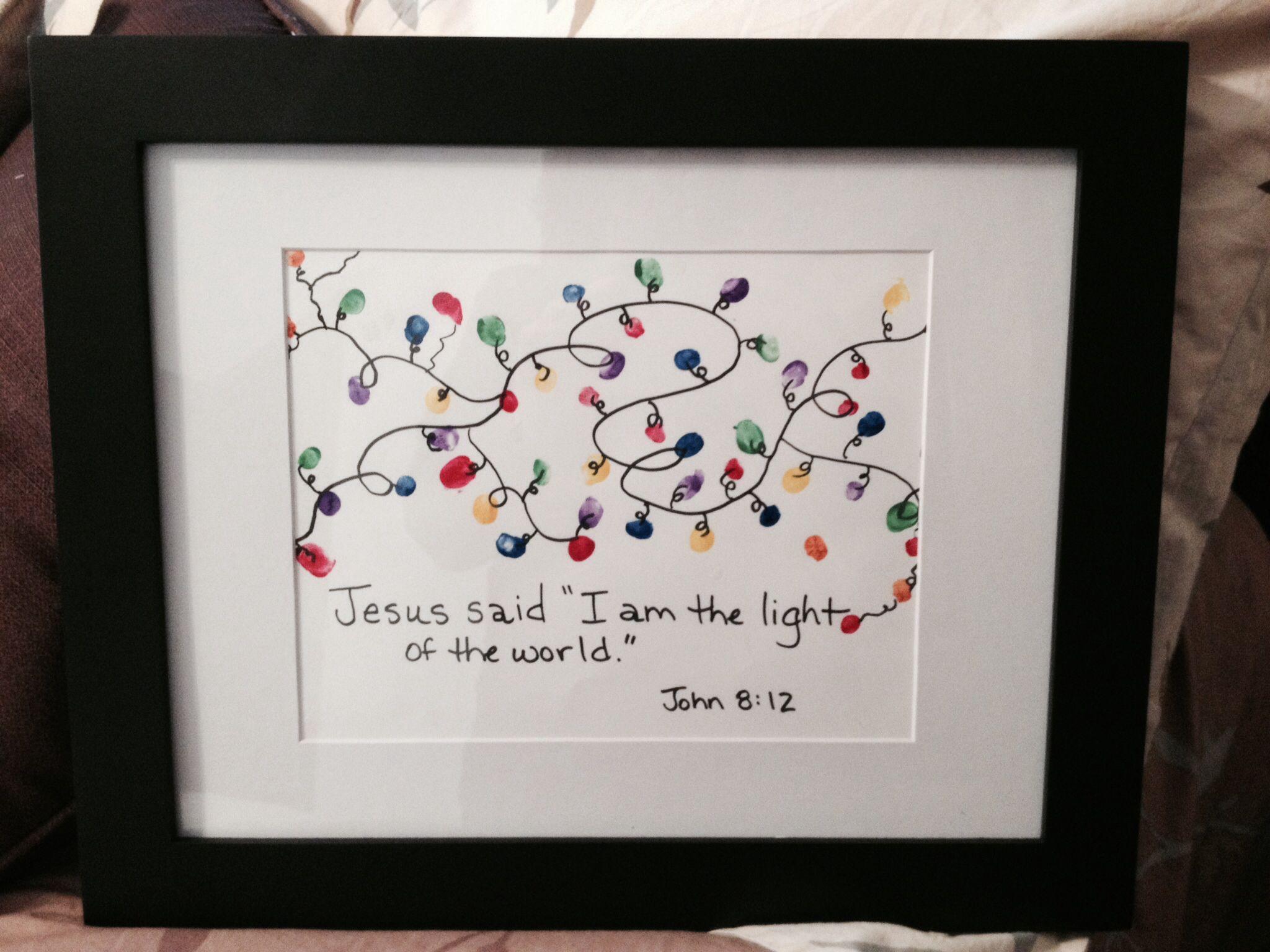 Fingerprint Christmas lights Jesus said I am