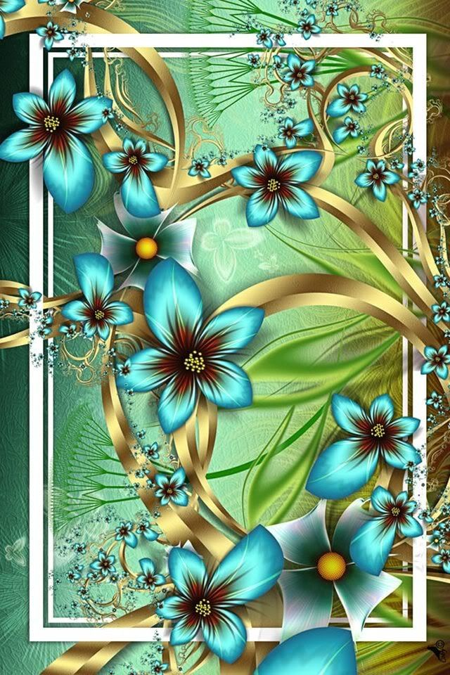 Teal flowers | iPhone wallpaper in 2019 | Bright colors art, Teal wallpaper,roid, Flower backgrounds