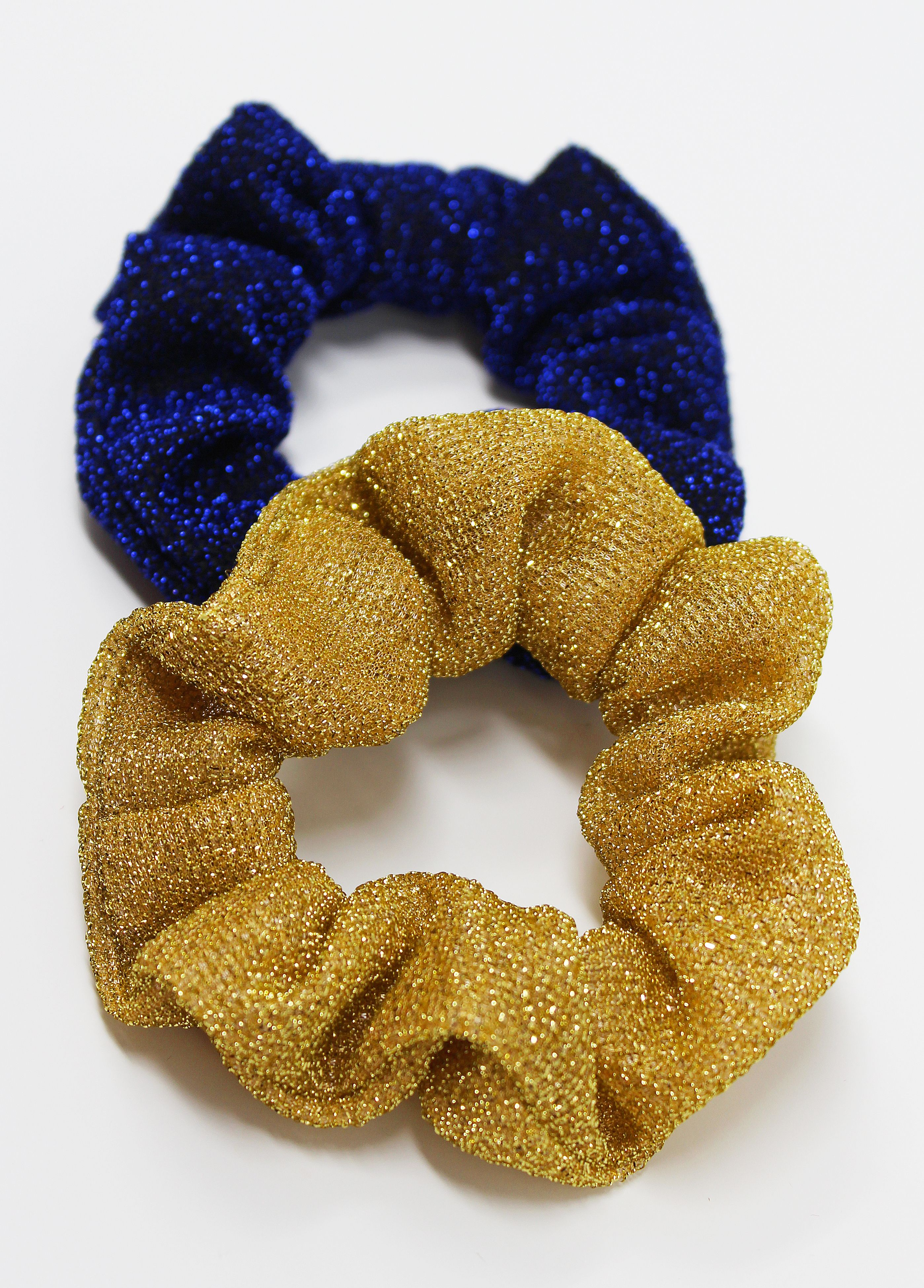 Gold & Blue Textured Hair Scrunchies #hairscrunchie