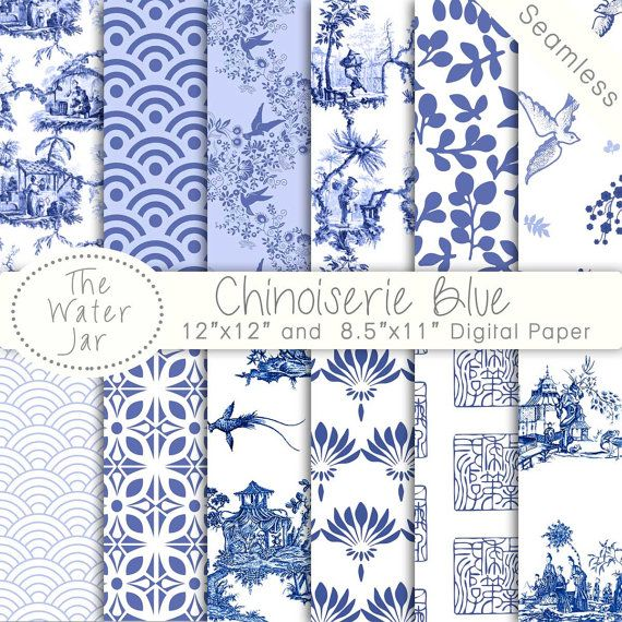 Chinoiserie China Blue Digital Papers Chinoiserie Scrapbook Etsy Blue And White Wallpaper Chinoiserie Wallpaper Chinese Patterns