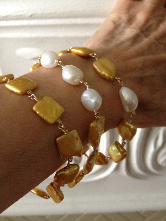 Yellow/Gold Square Coin Pearl & White Baroque Pearl Bangle Bracelet, OOAK, Pearl Bracelet, Gold Pearl Bracelet