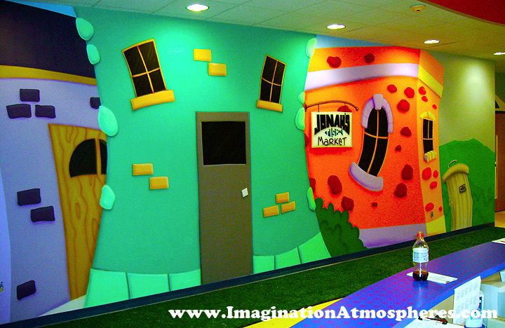 Preschool cartoon church murals www for Church mural ideas