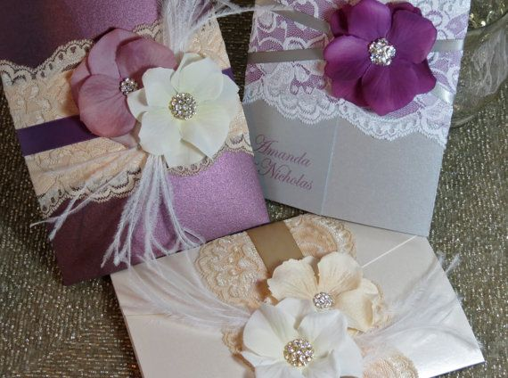 Silver And Purple Wedding Invitations: SUMMER: Vintage Lace Wedding Invitation, Purple And Silver