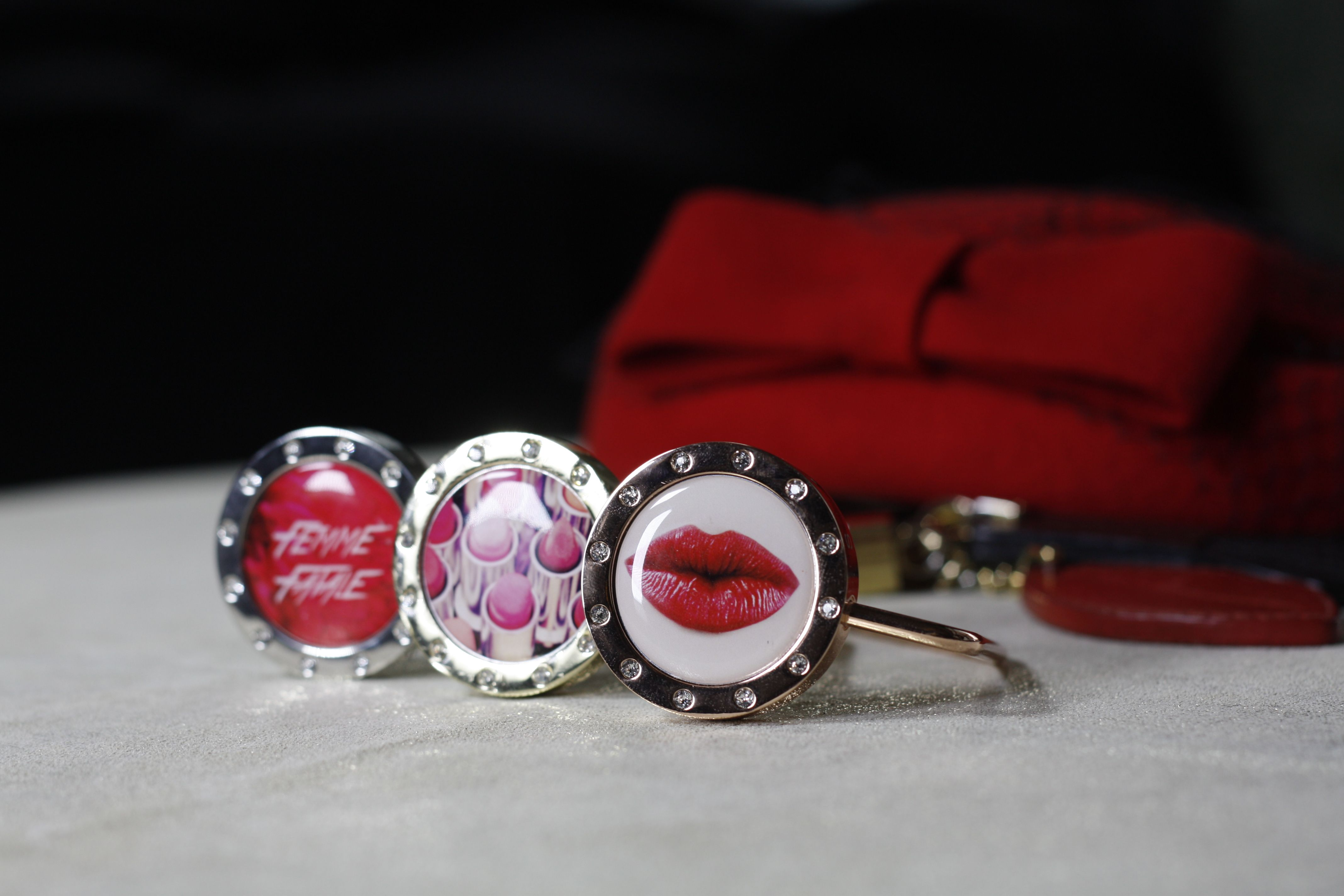 "Be a Femme Fatale with our Paris inspired ""From Paris With Love"" Joya's for your bag hook or necklace!"