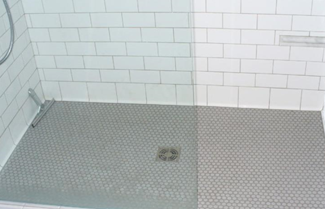 Penny Round Shower Floor With Subway Tile Walls