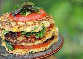 Corn Fritter Salad Stack