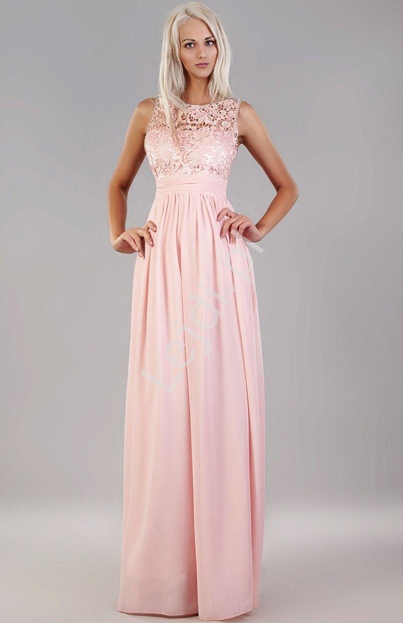 Jasnorozowa Prosta Suknia Z Gipiurowa Koronka Na Studniowke Dla Druhen Na Wesele Dresses Wedding Dresses Fashion