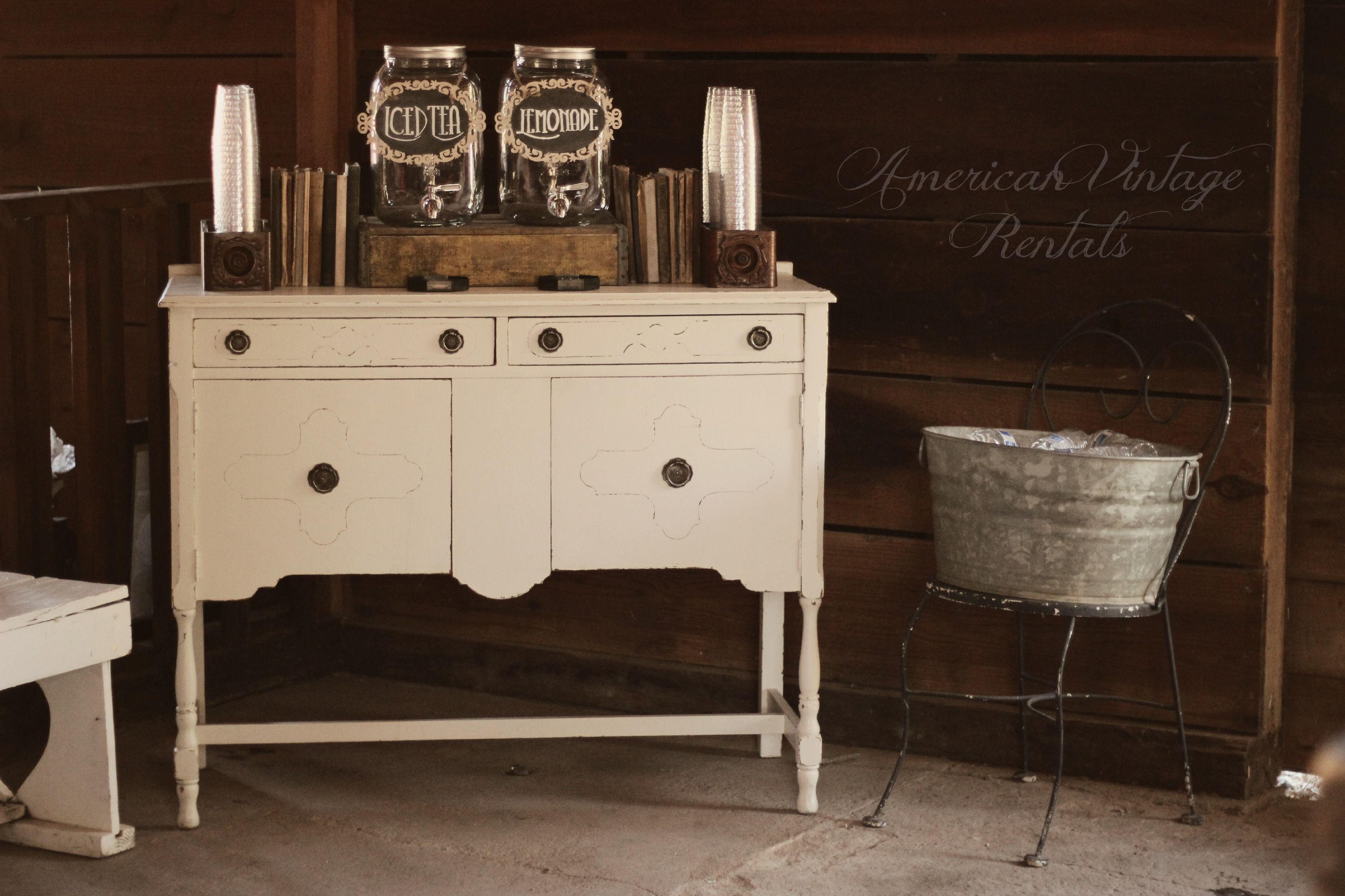 Rustic Vintage Wedding | Drink Station | Self-Serve Drink Bar | Wedding Decor | Vintage Furniture Rental