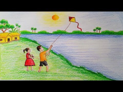 How To Draw Scenery Of Kite Flying Step By Step Very Easy