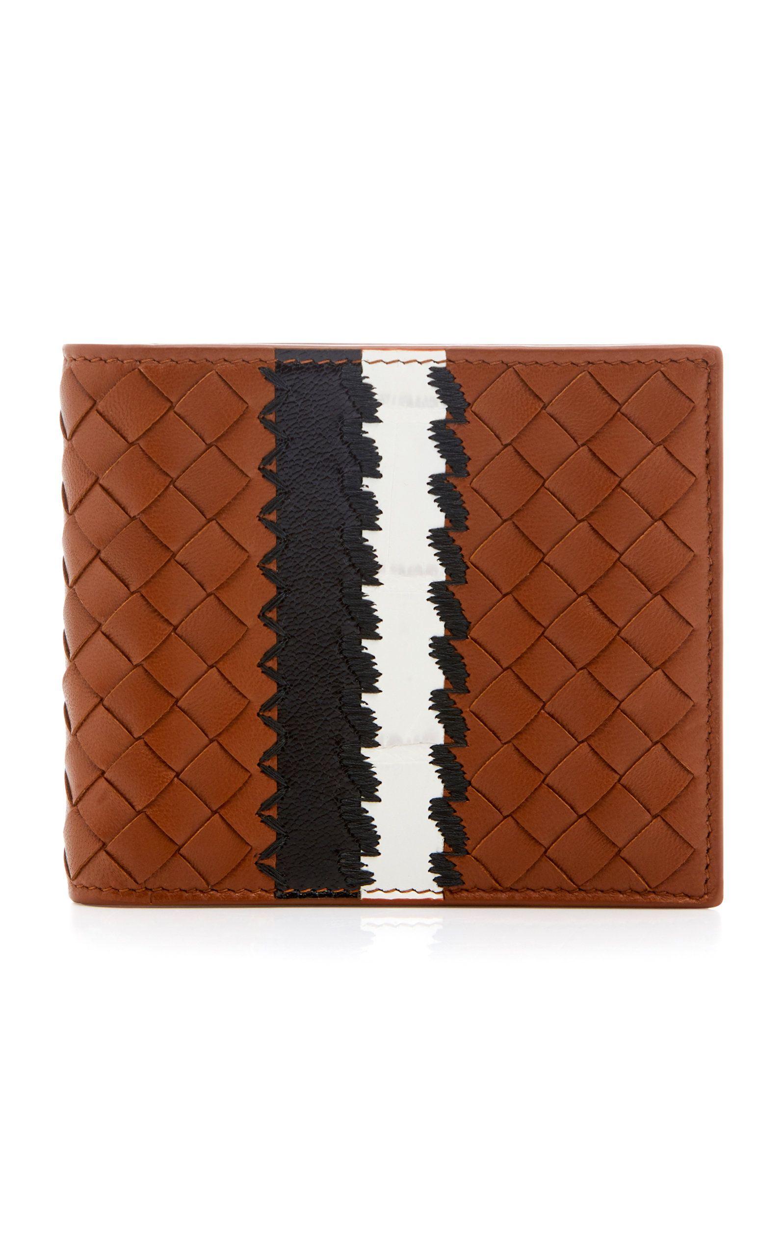 f9d29e2e12 Striped Intrecciato Leather Wallet   patches   Leather wallet, Wallet, dan  Bottega veneta