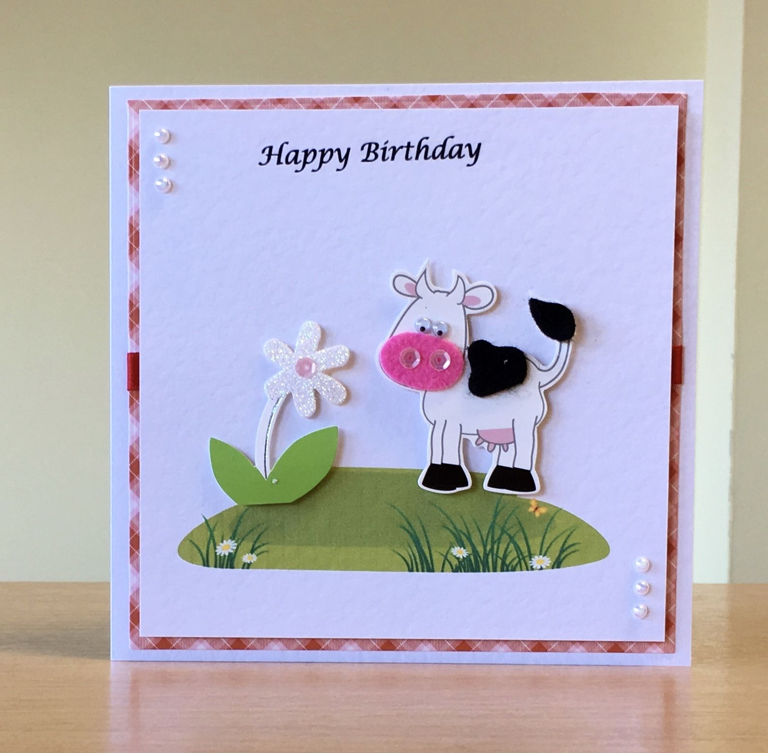 Birthday Card Handmade Cow Embellishment For More Of My Cards Please Visit Craftycardstudio On Etsy Com Handmade Craft Cards Cards Handmade Birthday Cards