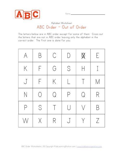 KINDERGARTEN_abc order practice worksheet | Alphabet | Pinterest ...
