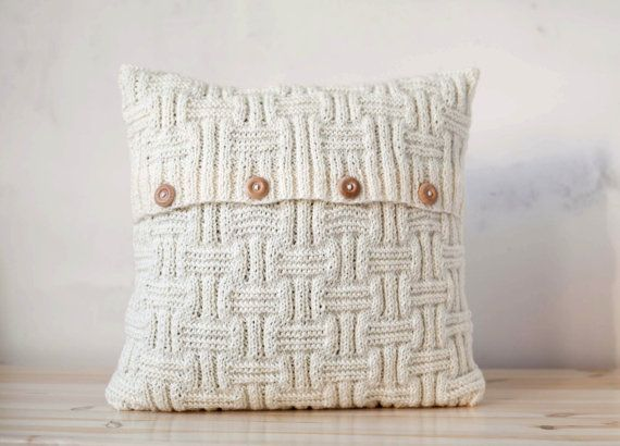 chunky hand knitted cushion lines pattern pillow cover with wool