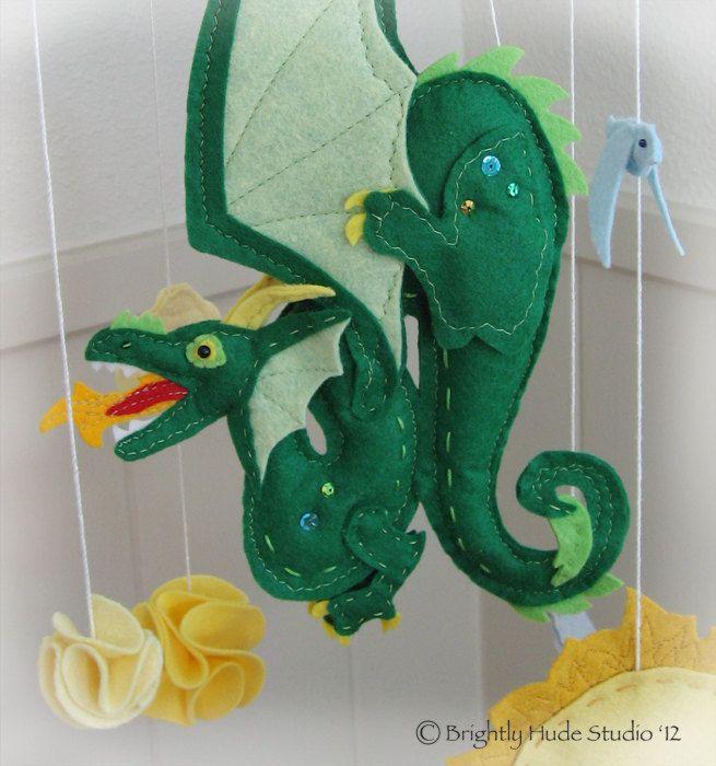 Green Dragon Fantastic Felt Mobile. $115.00, via Etsy.