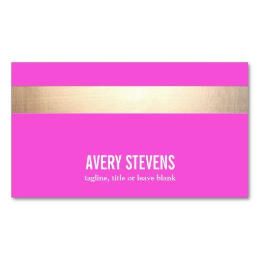 Gold striped modern hot pink beauty salon business card gold bold gold colored striped modern hot pink business card templates make your own business card with this great design all you need is to add your info to wajeb Choice Image