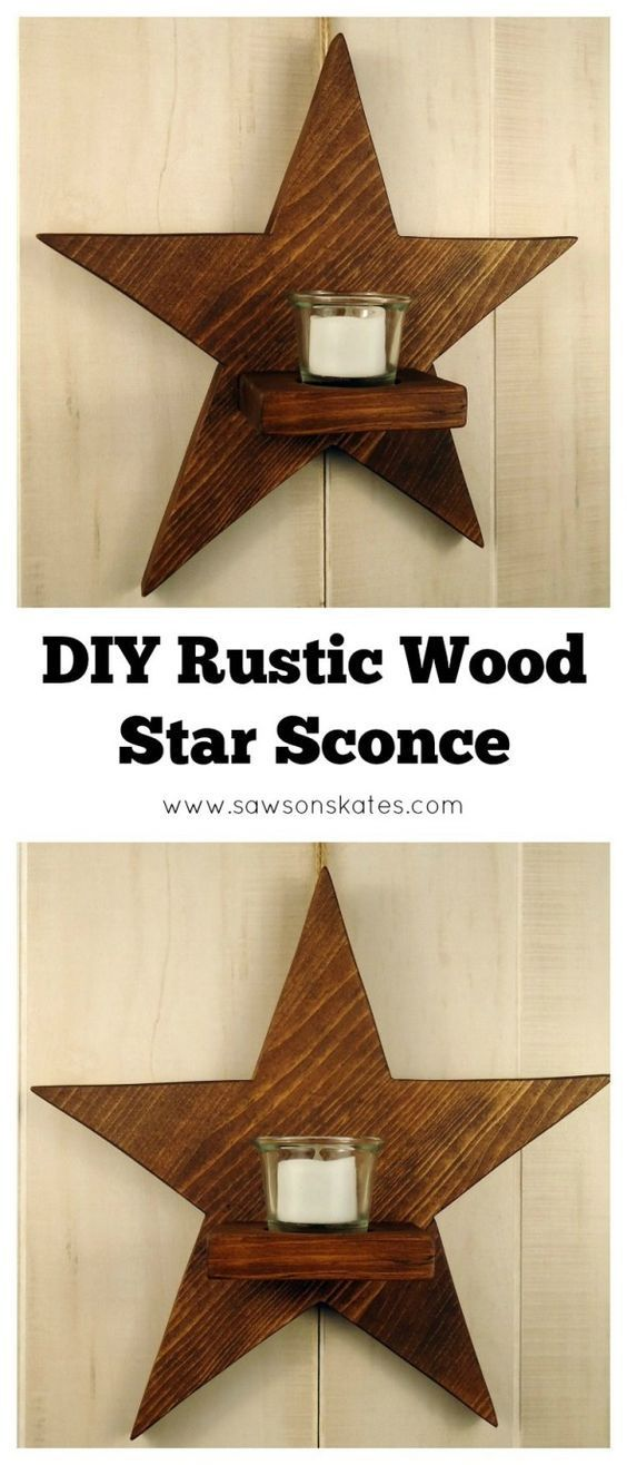 Diy Rustic Wood Star Sconce Rustic Diy Wood Stars Rustic Wood