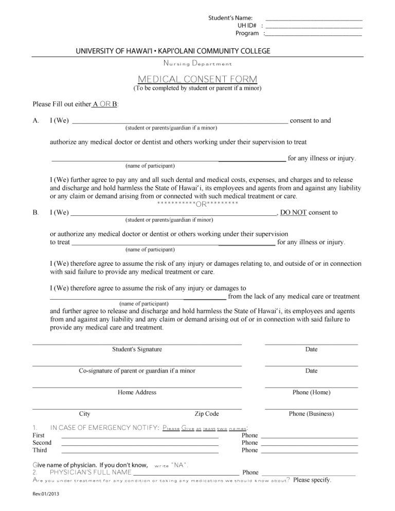 medical consent form 05 consent Pinterest Medical and Template