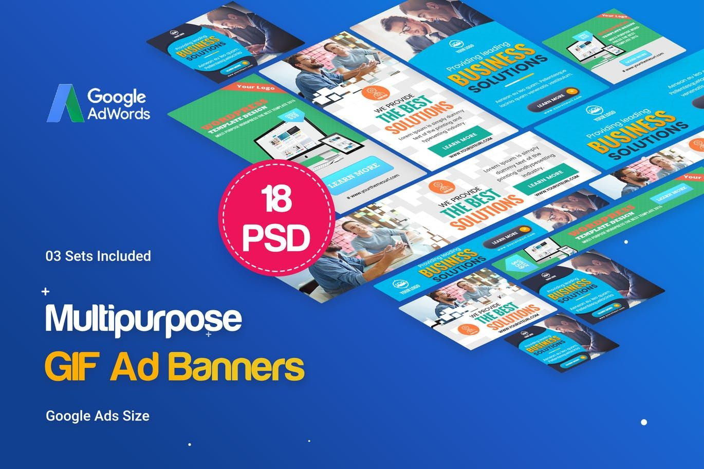 Animated gif multipurpose banners ad template psd banner