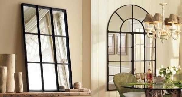 home decor mirrors with faux window look | black window ...