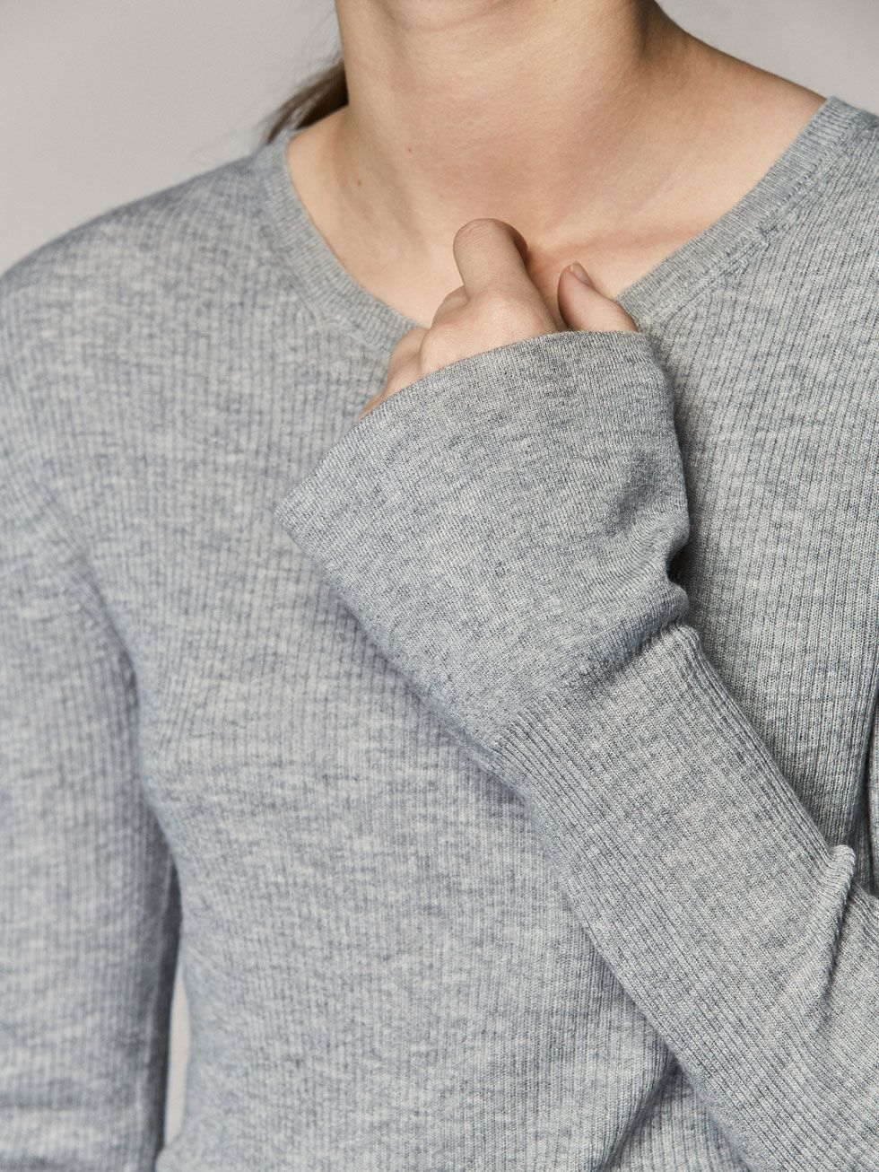 Ribbed Sweater With Bell Detail Women Massimo Dutti Her