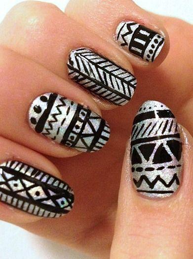 Nail Art TUTORIAL: Tribal Nails - Full tutorial? Click the ...