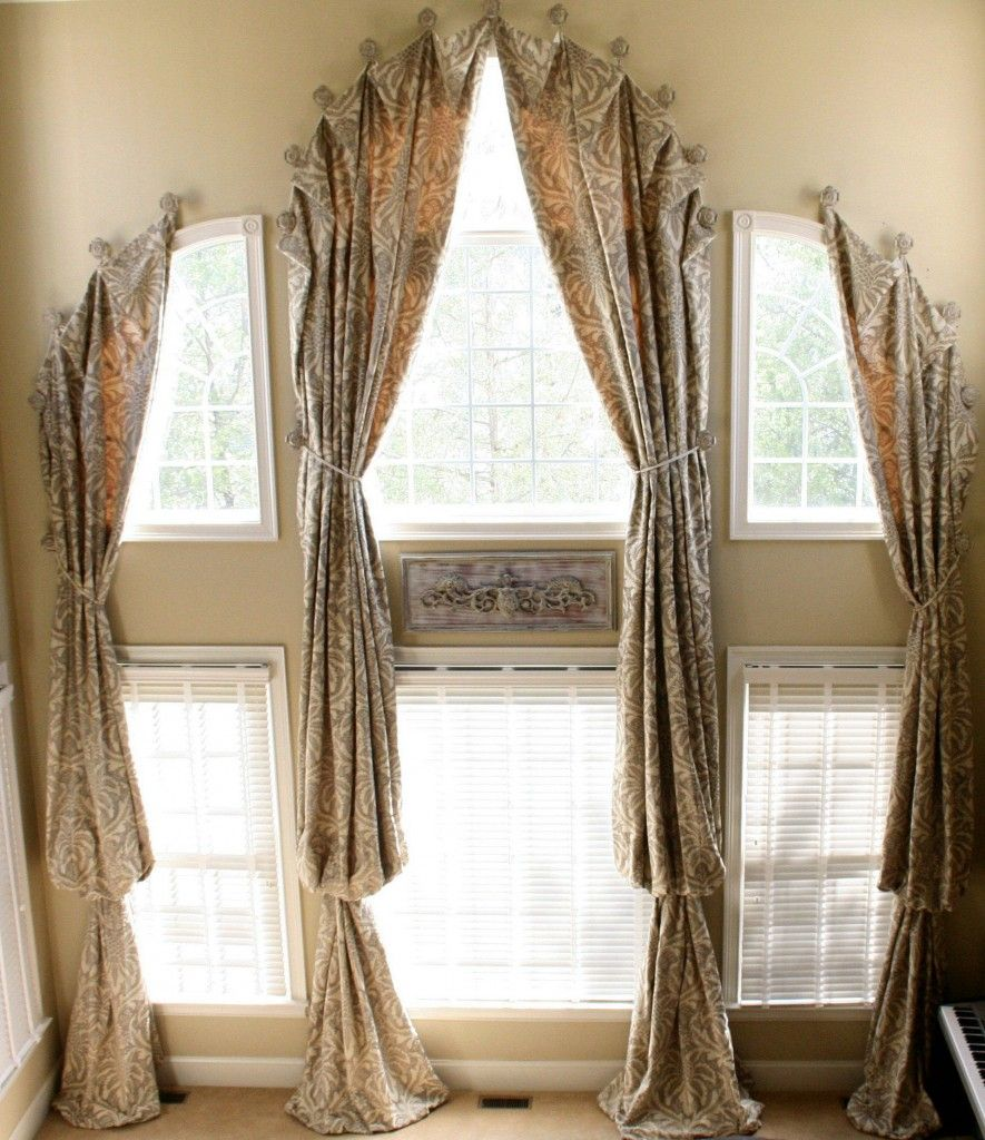 tie windows window pin wood draperies for blinds backs over medallion with privacy arched hung curtains adding