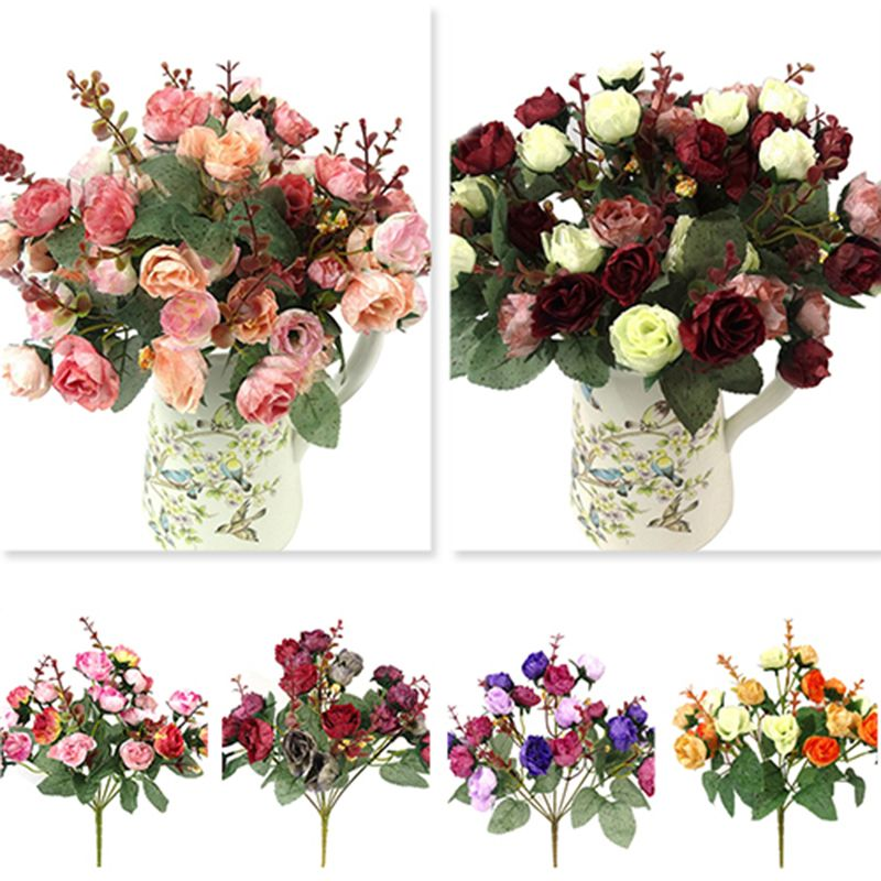 21 Heads Silk Roses Artificial Flowers Bunch In Vase Bouquet Wedding//Home Decor