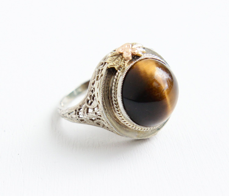 Caramel Cat S Eye Ring Diamontrigue Jewelry: Antique 14k White Gold Tiger's Eye Filigree Ring By