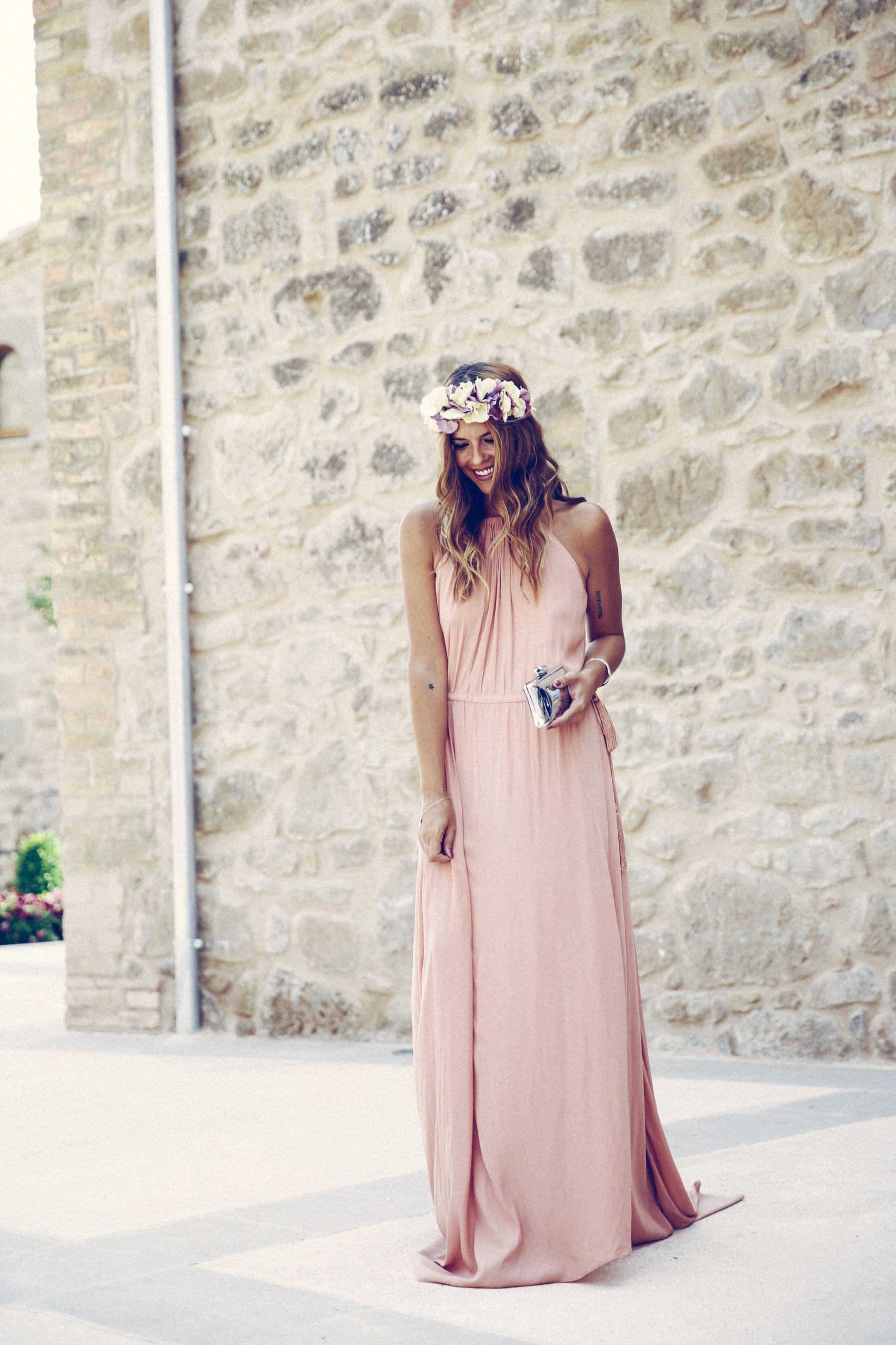 ea977855b1720 adolfo dominguez dress vestido pura lopez sandalias sandals wedges corona  flores flower crown pink silver rosa plata clutch bombonera summer boda  wedding ...