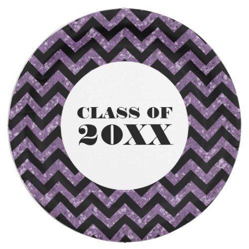 Purple Chevron Glitter Graduation Paper Plates  sc 1 st  Pinterest & Purple Chevron Glitter Graduation Paper Plates   Purple chevron