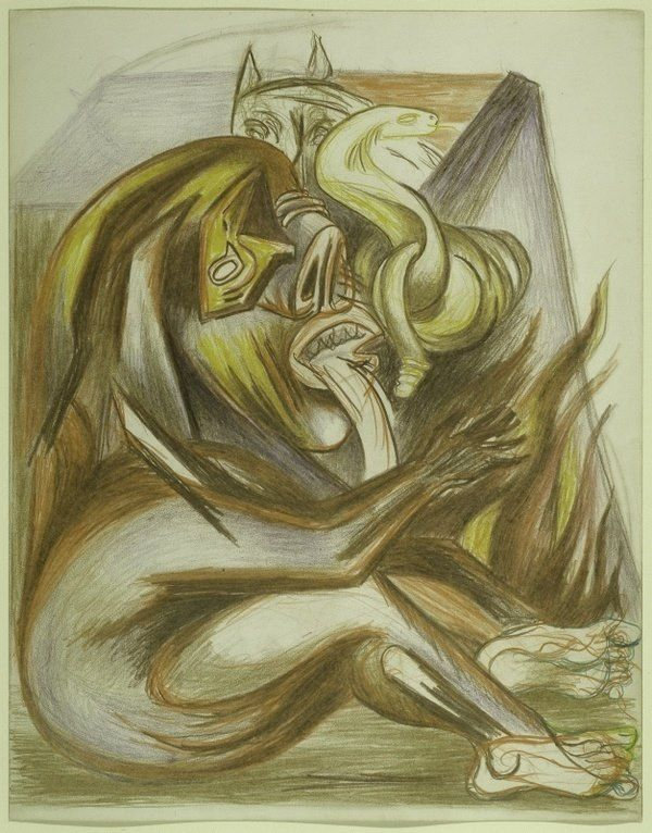 Jackson Pollock image: Untitled c1932-42, (Psychoanalytic Drawing) Colored pencil and graphite on paper.
