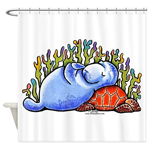 Beau Bathroom Rugs Ideas | CafePress Sea Turtle N Manatee Shower Curtain  Decorative Fabric Shower Curtain *