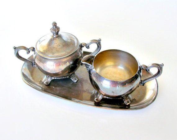 Vintage Silver Plate Cream & Sugar Set with Tray 3 by retrogroovie