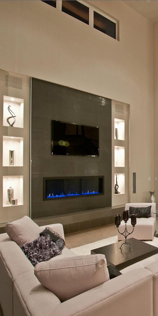 I Like The Wall Fireplace And Shelving Sleek Looking The In 2020 Fireplace Tv Wall Tv Above Fireplace Living Room With Fireplace
