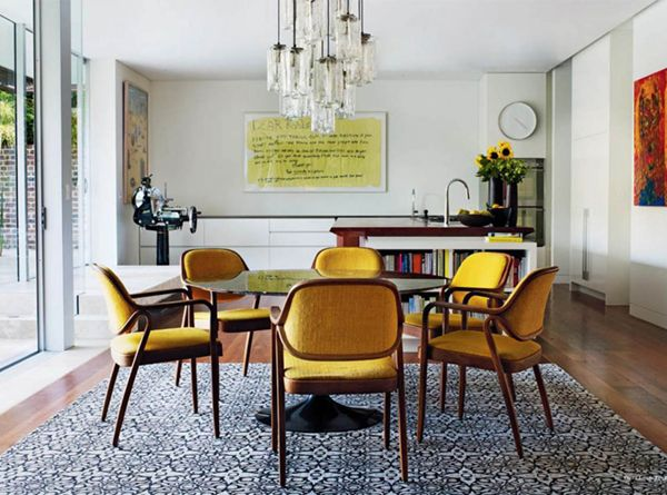 Color Buzz Black Yellow Coco Kelley Eclectic Dining Room