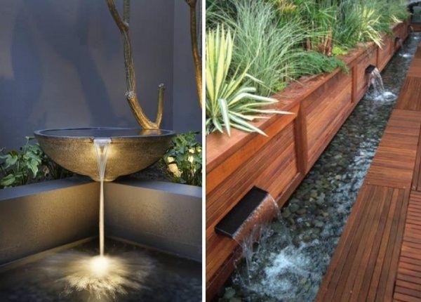 minimalistischer garten mit wasser bachlauf-brunnen springbrunnen,