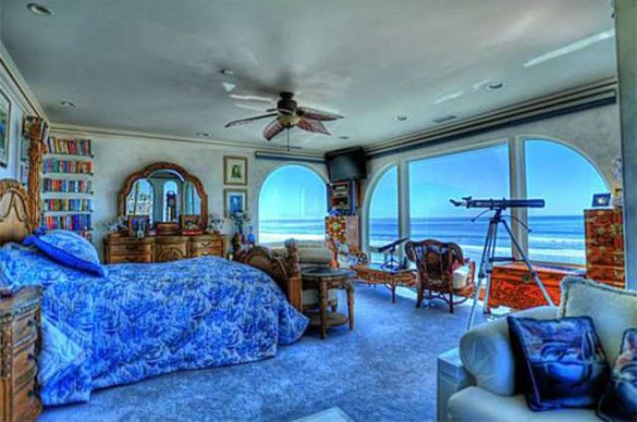 Master Bedroom Blue Ocean Theme Beach View House Oceanside