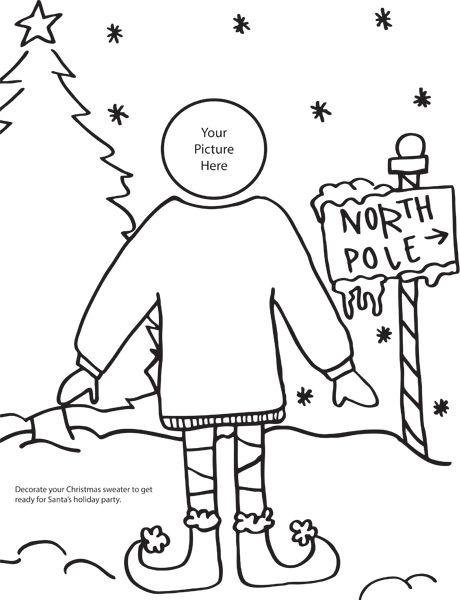 A cute Christmas coloring page that has an ugly Christmas