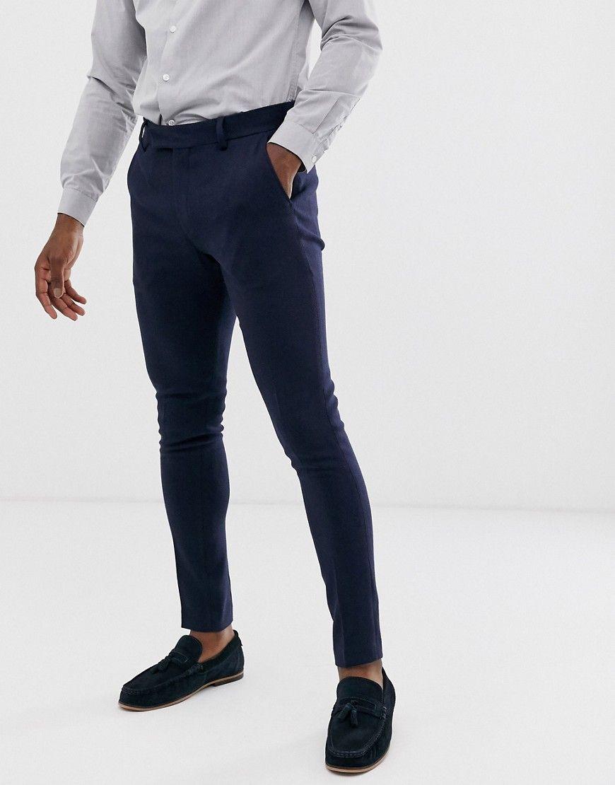 Asos Design Wedding Super Skinny Suit Pants In Navy Herringbone Navy Asosdesign Cloth [ 1110 x 870 Pixel ]