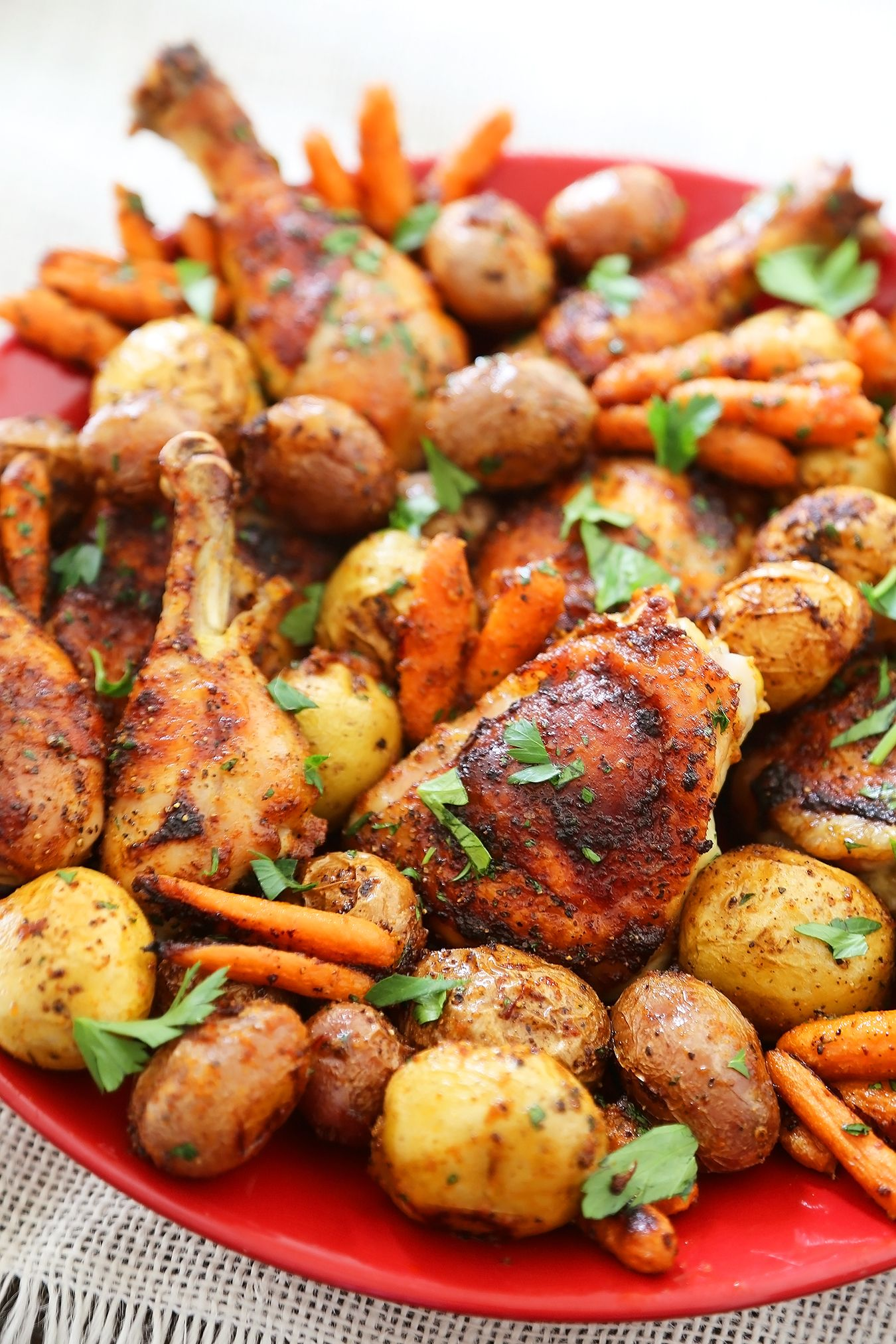 Chili-Garlic Roasted Chicken with Potatoes & Carrots