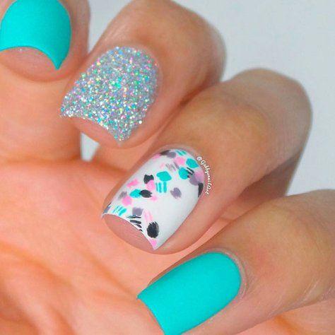 beautiful aqua nails design ll