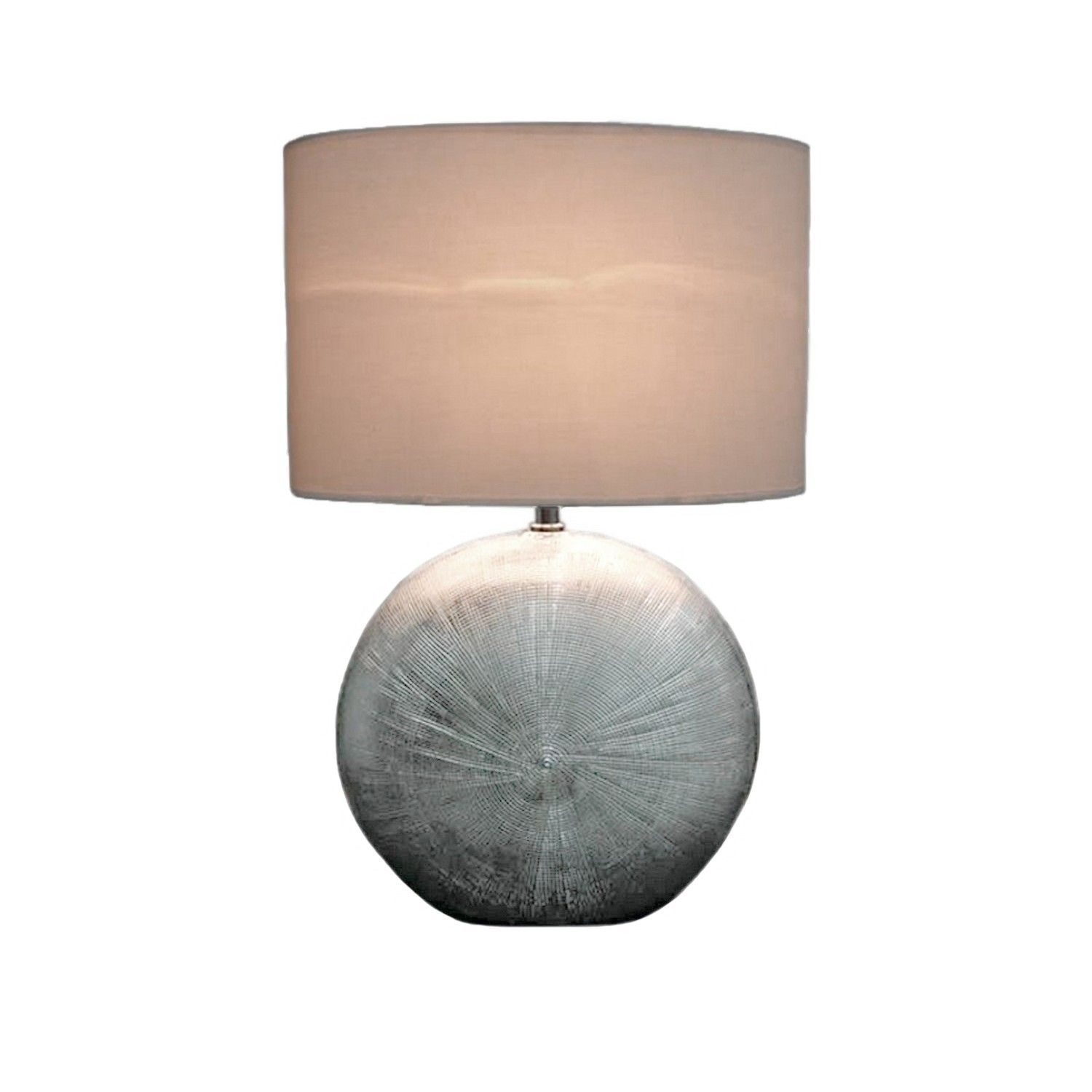 Stunning Large Hand Etched Silver Effect Table Lamp With Shade Brand New
