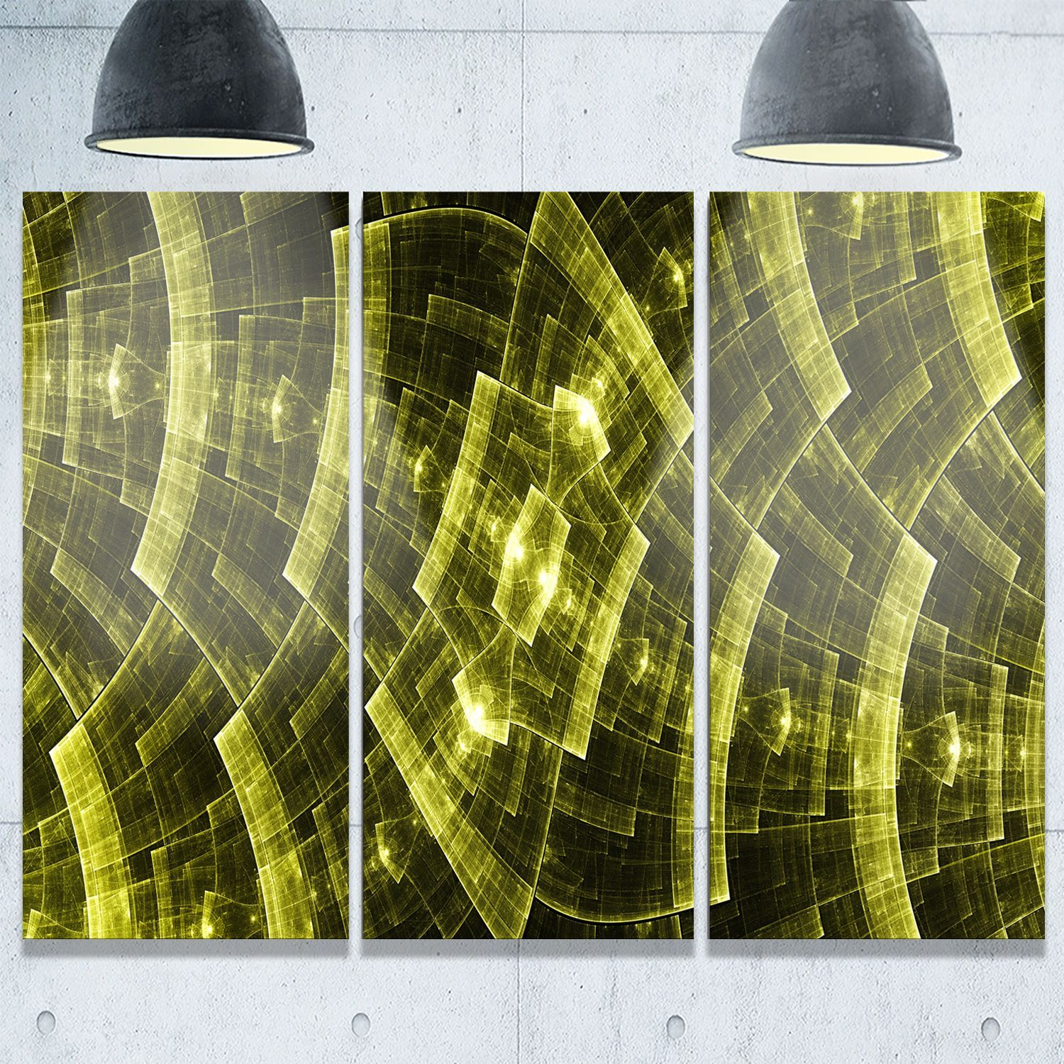 Bright Fractal Flower Grid - Abstract Glossy Metal Wall Art ...