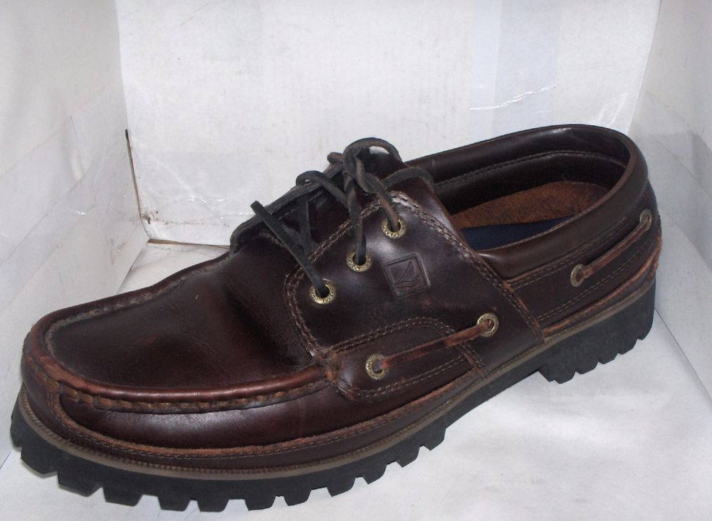 ba95c526b00 SPERRY TOP SIDER MENS BROWN BOAT SHOE SIZE 12 3 EYELET LUG SOLE A/O ...
