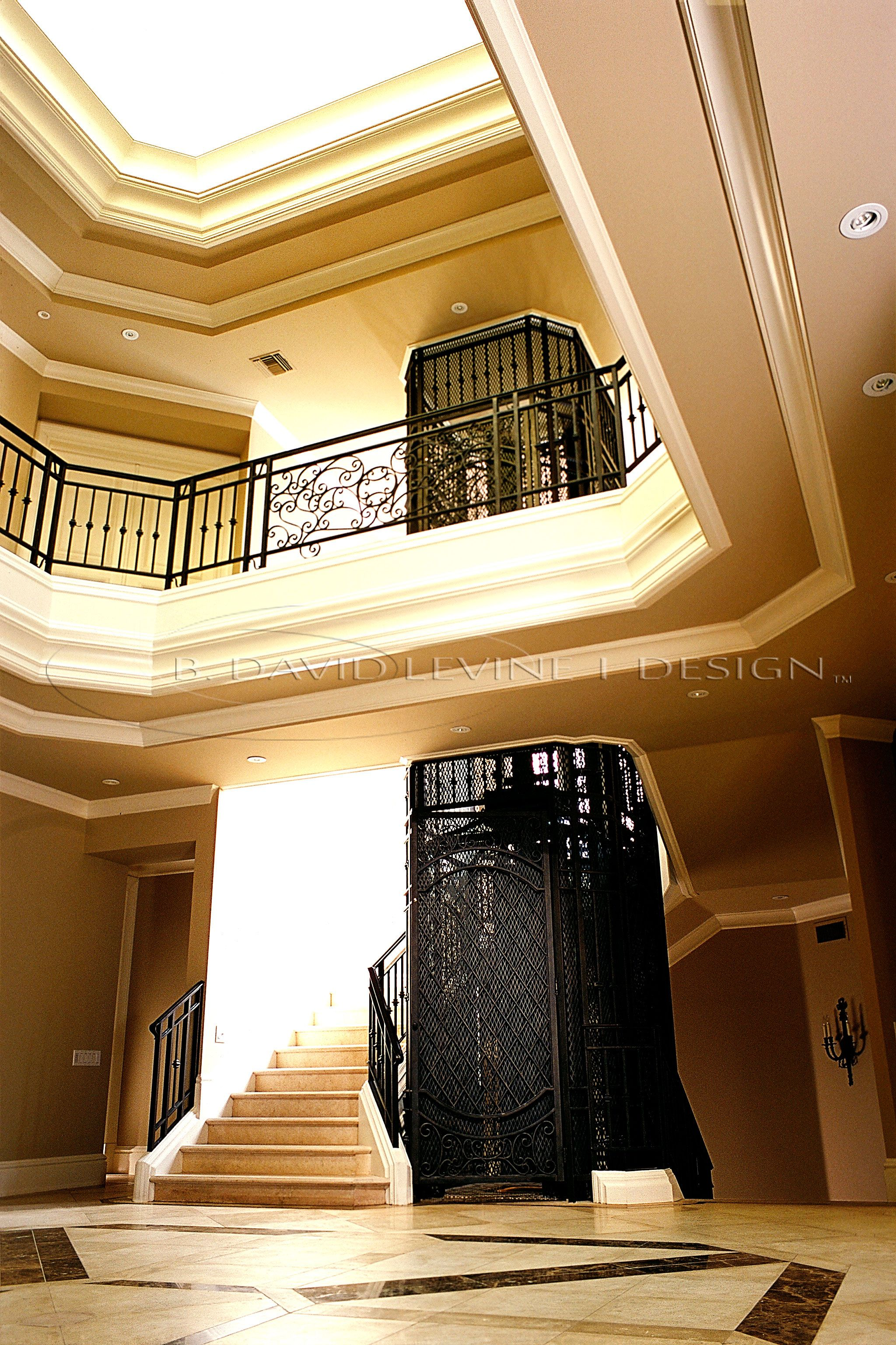 Entryway for the Brentwood home.  I designed all the details of the elevator.