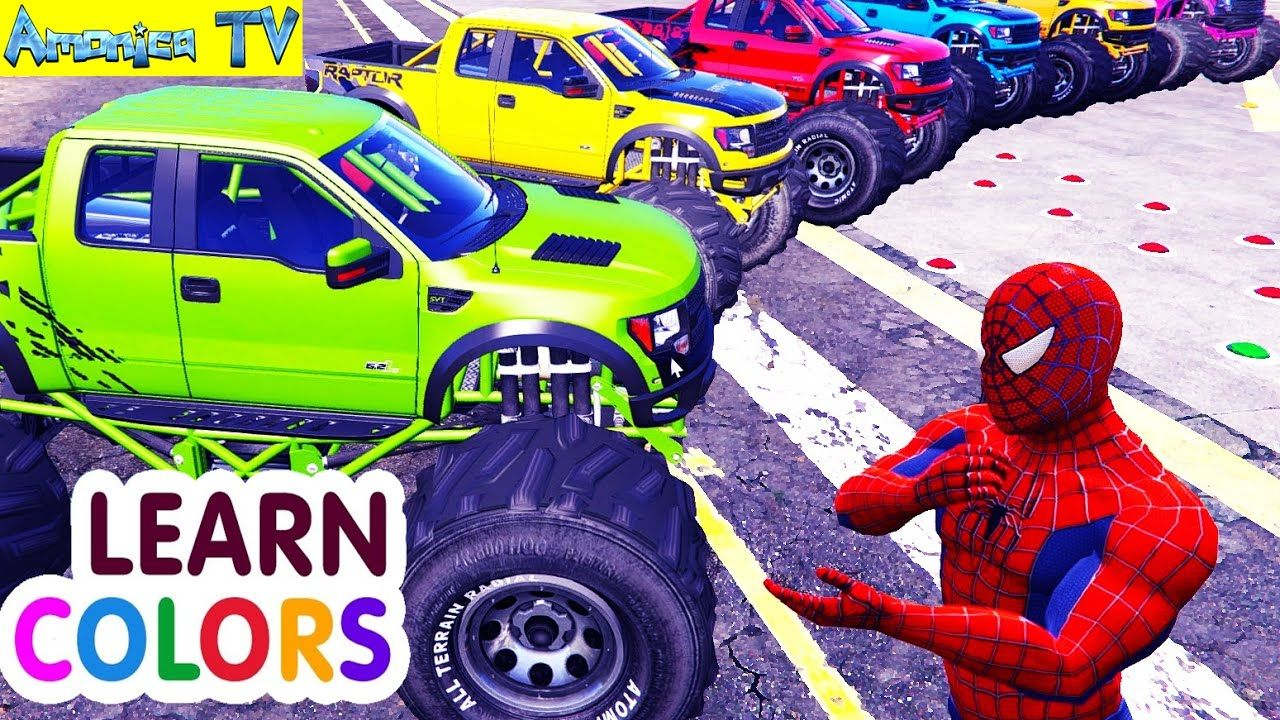 Learn Colors With Trucks Cars A Lot Of Spiderman Car Cartoon For Kids Amonica Tv Spiderman Car Car Cartoon Cartoon Kids