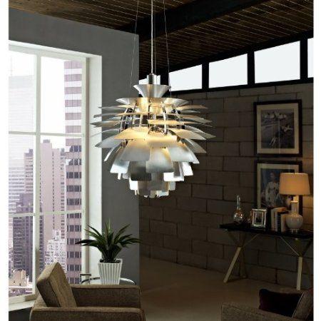Amazon com lexmod 28 inch artichoke style chandelier modern lamp silver
