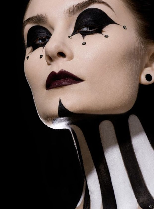 Undefined Jester Clown Black White Face Paint Makeup Art Halloween Movies Body Art Female Woman Beauty Lips Eyes Color