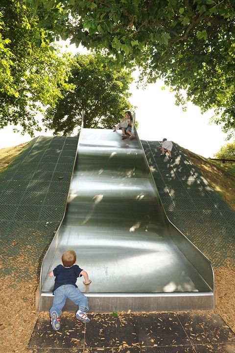 Stainless steel playground slides for all installations