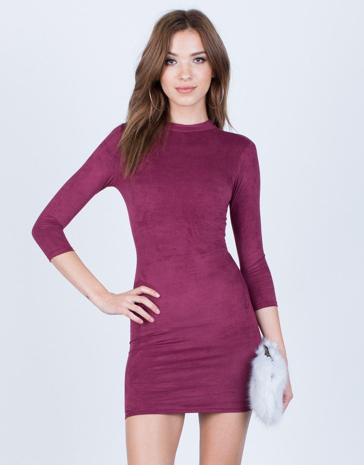 Tied Up Suede Bodycon Dress | Moda casual